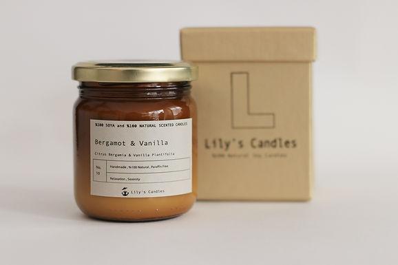 BERGAMOT & VAVILLA Natural Soy Candle   Dark Glass