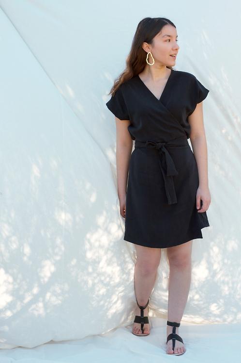 URSULA Wrap Siyah Elbise