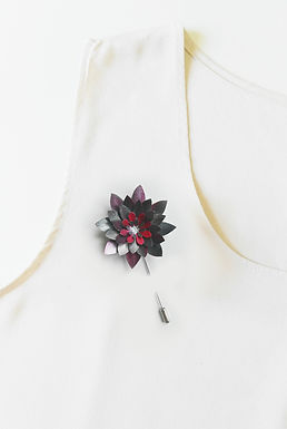 METALLIC GREY Handmade Origami Flower Brooch