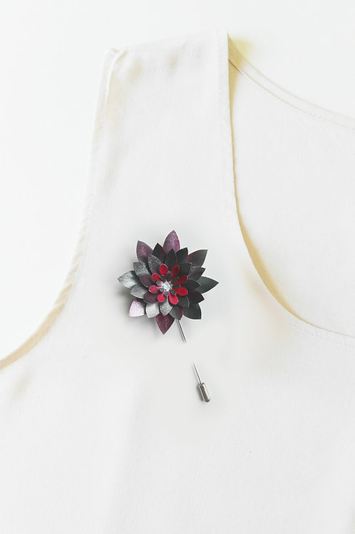 METALLIC GREY Handmade Origami Flower Brooch