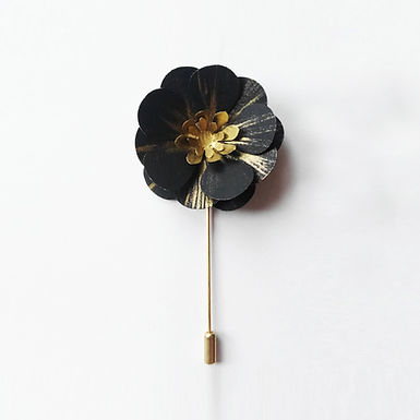 BLACK AND GOLD Handmade Origami Flower Brooch