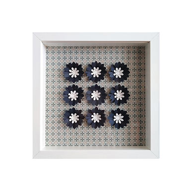 3D Framed Handmade Paper Blue Flowers
