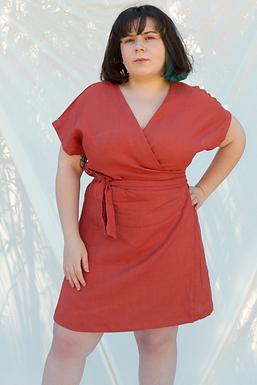 URSULA Wrap Terra Linen Dress