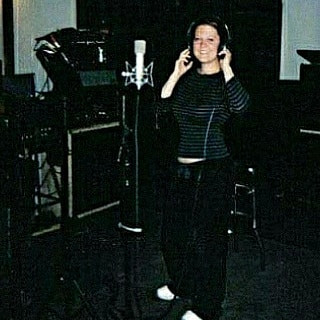 Actress Liv Hansen recording in Winslow Court Studios in Los Angeles