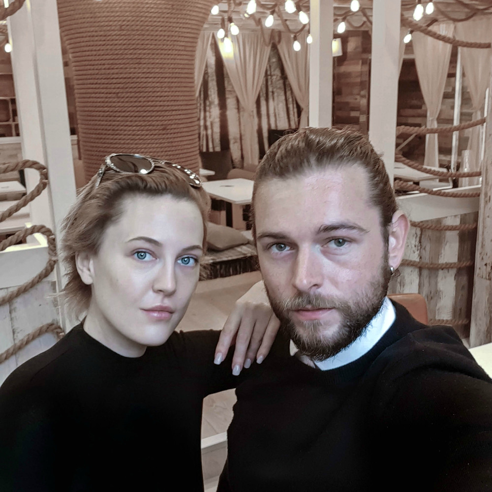 Danish actress and serial entrepreneur Liv Hansen with a man