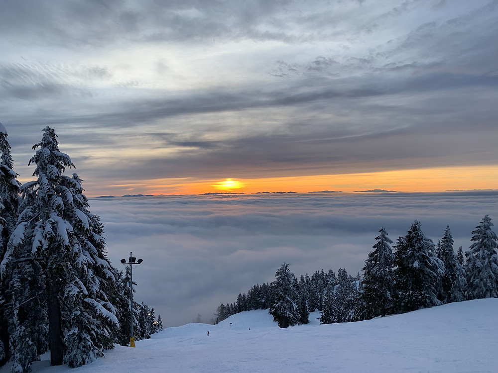 Sunset over Grouse Mountain in Vancouver Canada