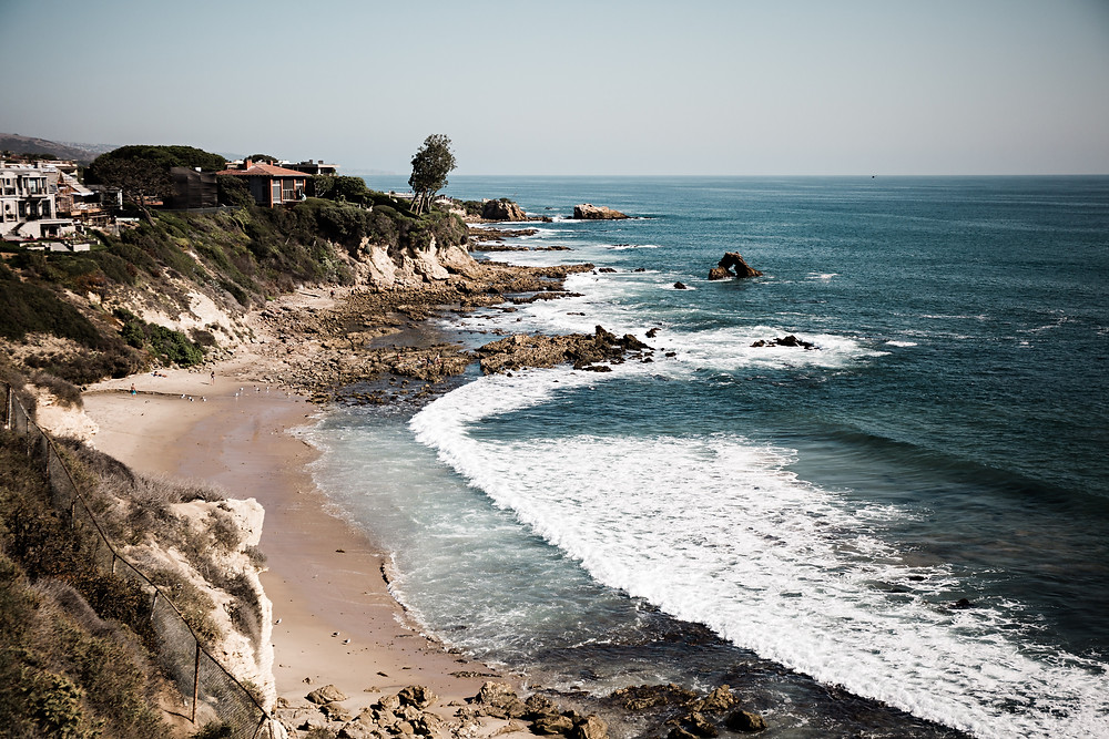 A view of the coastline and the Pacific Ocean in Malibu California