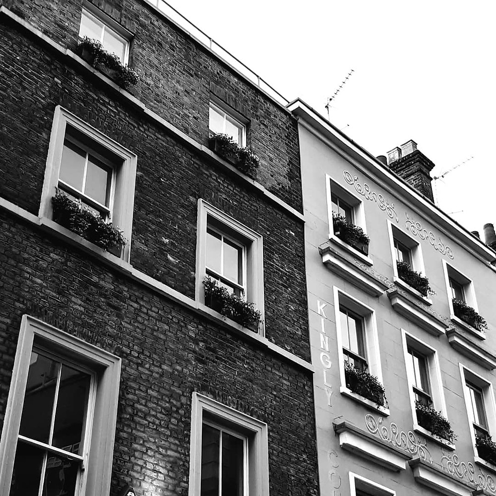 Buildings in Beak Street in Soho in London
