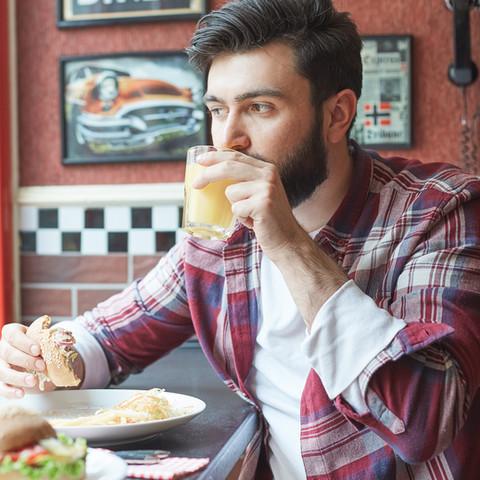 Eating Hamburger