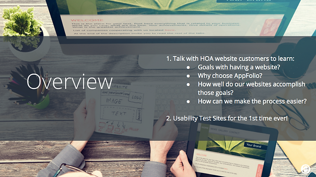Screenshot of the overview outlining th HOA Website Researc project