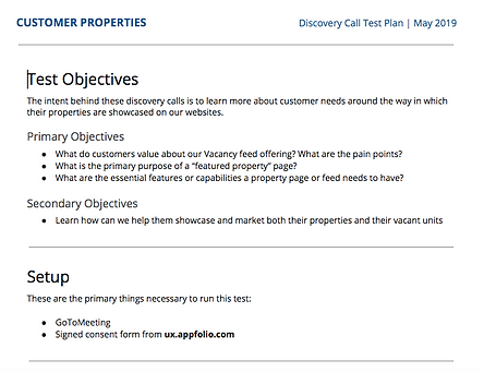A screenshot of the top of the first page of my discovery call script