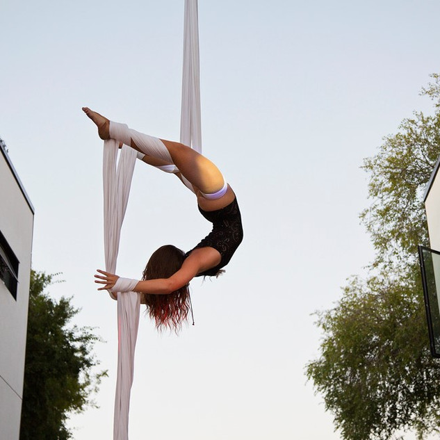 Aerial Silks at SB Cast's First Thursday Event