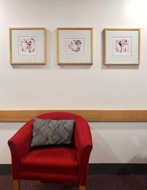Framed prints in exhibition