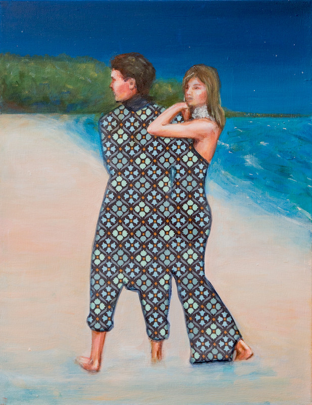 painting by Leah Mariani of a couple on the beach