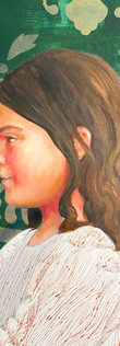 Detail of painting called Clap Your Hands by artist Leah Mariani