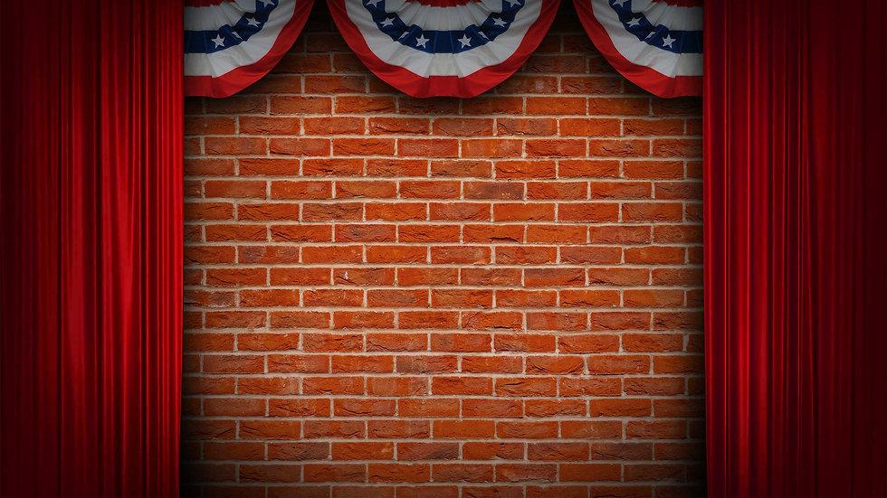 bricks with curtain BG patriotic bunting