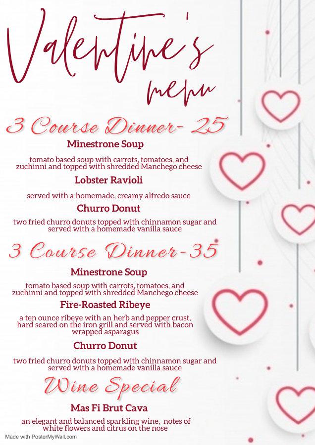 Valentines day restaurant dinner menu te