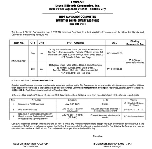 Invitation to Pre-Qualify and to Bid BAC-P06-2021