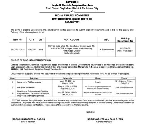 Invitation to Pre-Qualify and to Bid : BAC-P01-2021_Service Drop Wire #6