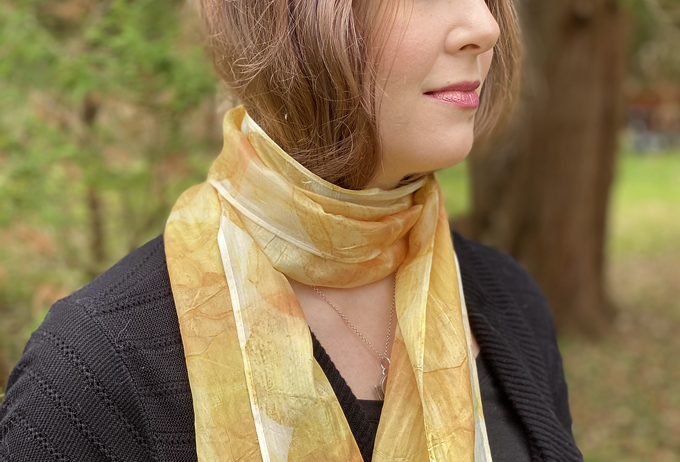 """""""Citrine Shimmer"""" Eco Printed Narrow Silk Scarf from The Catalyn Collection"""