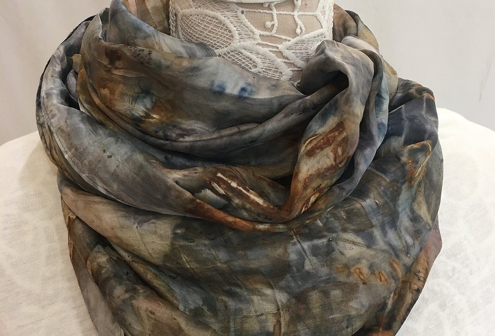 """""""Midnight Surge"""" Eco Printed Silk Scarf from the Dana Blue Collection"""