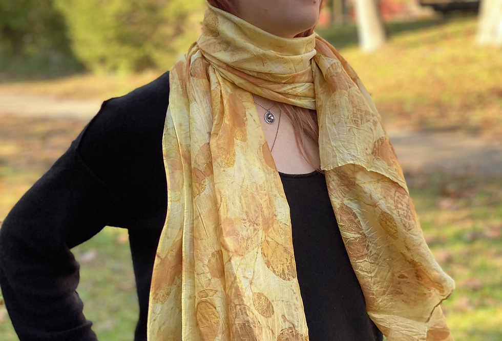 """Citrine Shimmer"" Eco Printed Silk Scarf from The Catalyn Collection"