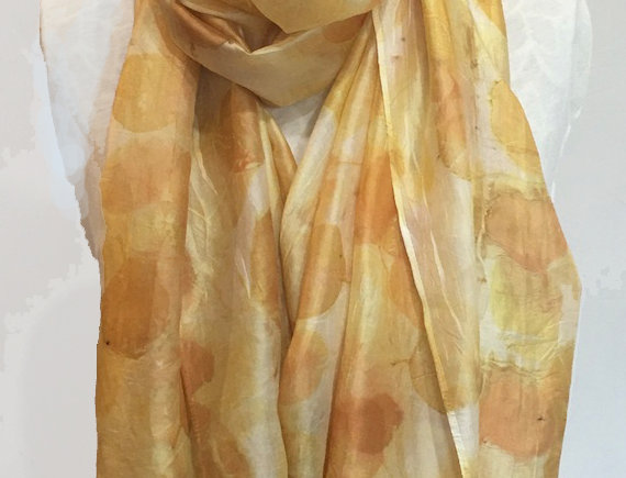 """""""Citrine Shimmer"""" Eco Printed Silk Scarf from The Catalyn Collection"""