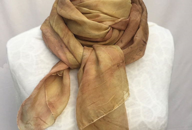 """""""Muted Sunset"""" Eco Printed Silk Scarf from The Kathleen Collection"""