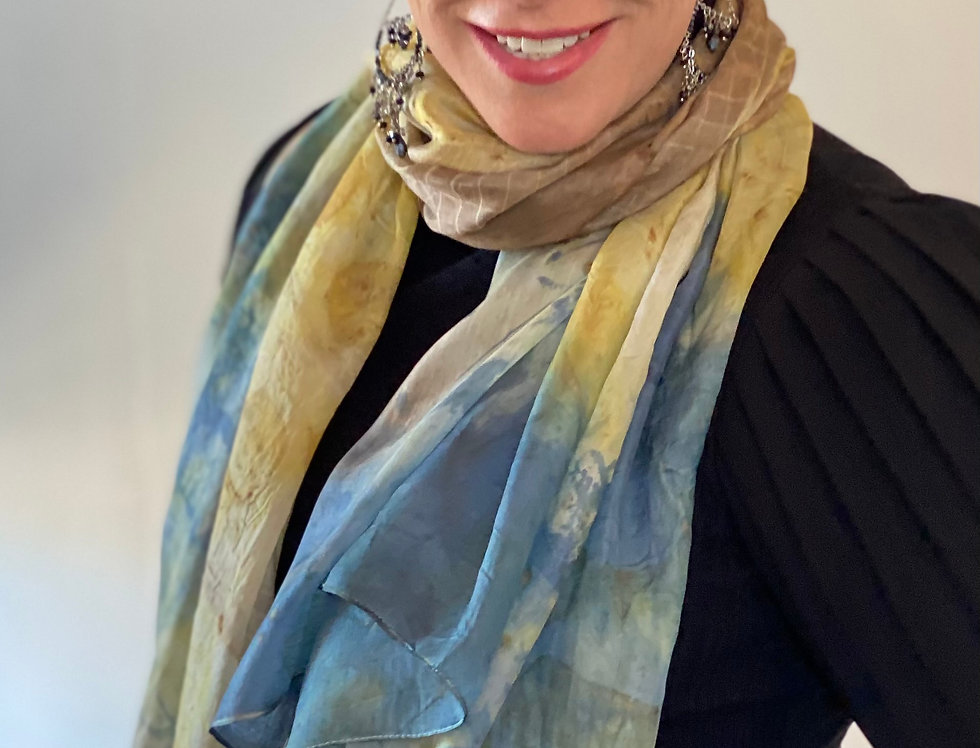"""Summer Surge"" Eco Printed Silk Scarf from the Dana Blue Collection"