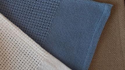 Cotton Cellular Blankets Wht_Blue_Mocha
