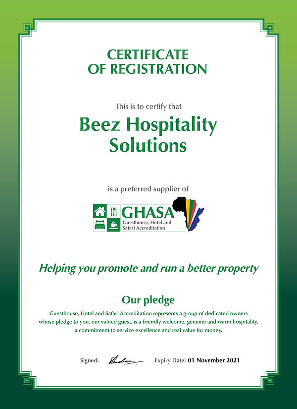 GHASA Certificate supplier_Beez Hospital