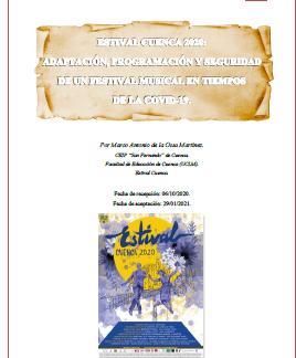 ARTÍCULO SOBRE ESTIVAL CUENCA 20 EN ARTYHUM. REVISTA DE ARTES Y HUMANIDADES