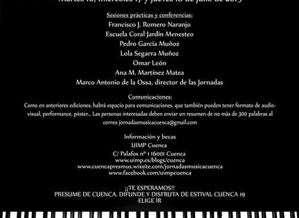 APLAZADAS LAS IX JORNADAS DE DIDÁCTICA DE LA MÚSICA Y MUSICOLOGÍA DE LA UIMP DE CUENCA