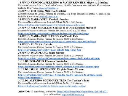 EL VIERNES 28 DE MAYO, A LAS 23:59 H., ¡¡ENTRADAS Y ABONO AL A VENTA EN ESTIVAL CUENCA 21!!