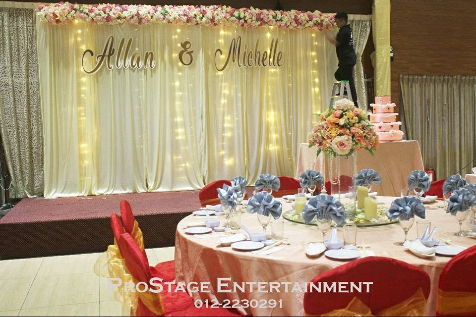 Stage backdrop with LED and flower trellis