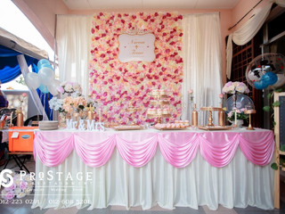 Flower Wall and White Curtains with Candy Bar~