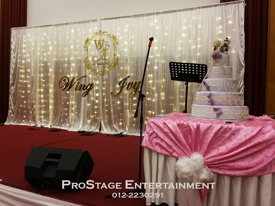 White stage backdrop with LED