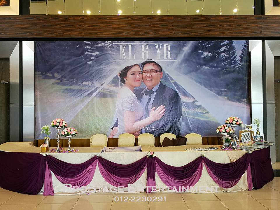 Reception with Groom and Bride wallpaper in the background