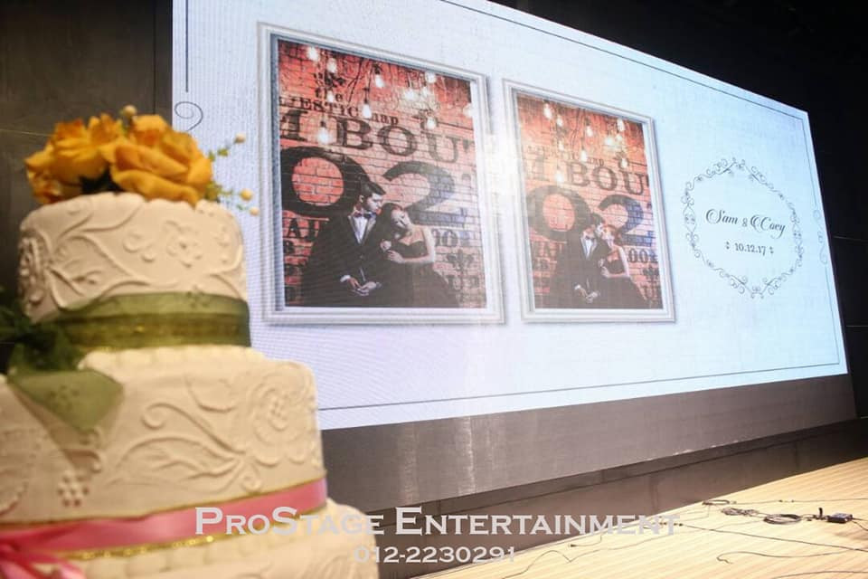 Wedding cake with groom and bride photo slideshow