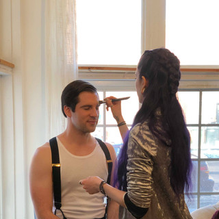 Makeup Artist Simone getting Clyde (Joel) ready for our photoshoot!