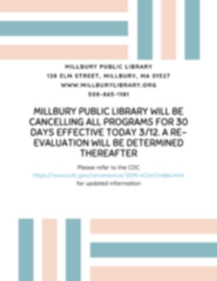 Millbury public library program closing.