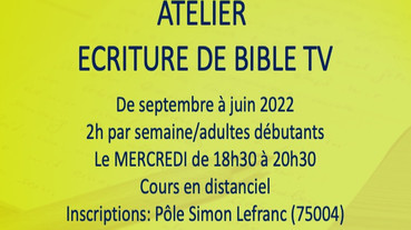 ATELIER ECRITURE D'UNE BIBLE DE SERIE TV mercredi