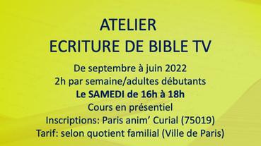 ATELIER ECRITURE D'UNE BIBLE DE SERIE TV Samedi