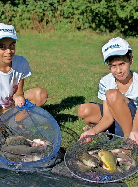 Twin brothers fishing