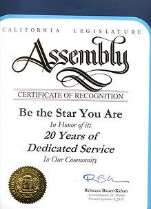 20th Ca. legislature Honor for BTSYA.jpe