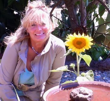 Cynthia Brian listening to a garden concert!