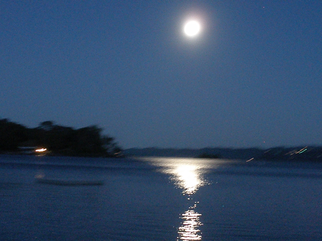 Moon rise over the lake