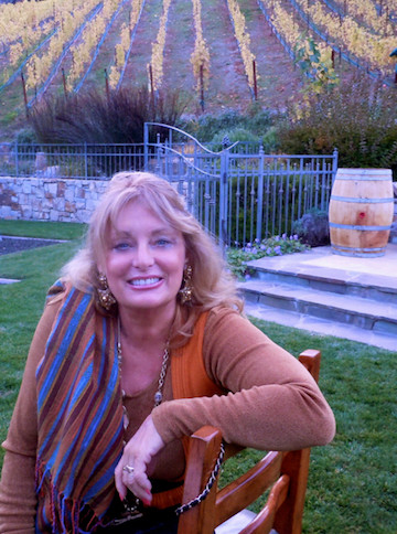 Cynthia Brian in the fall vineyard