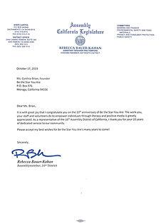 20th letter-Ca. legislature Honor for BT