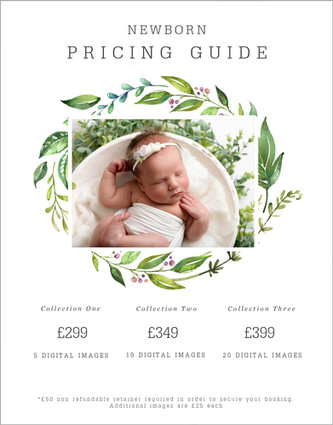 Newborn session price list